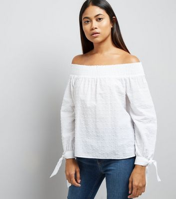 Petite White Textured Bardot Neck Top