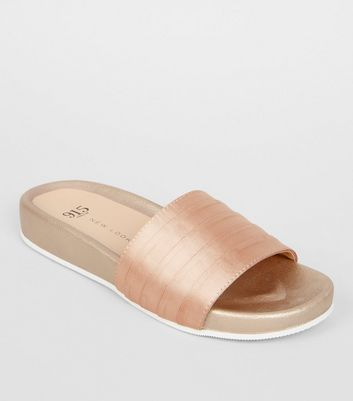 Teens Pink Satin Sliders