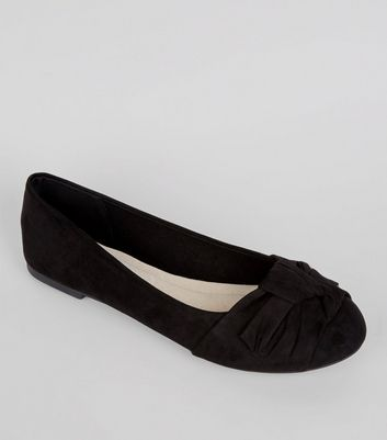 Wide Fit Comfort Black Bow Knot Ballerina Pumps