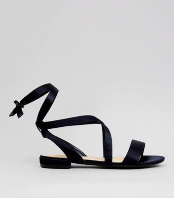 Wide Fit Black Ankle Tie Sandals