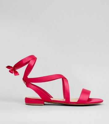 Wide Fit Pink Satin Ankle Tie Sandals