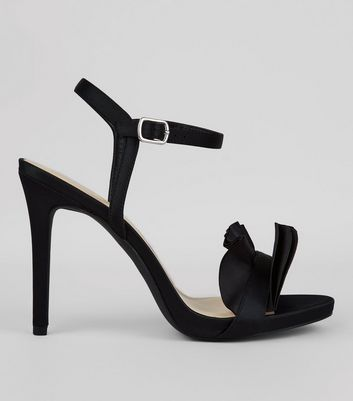 Wide Fit Satin Frill Heeled Sandals