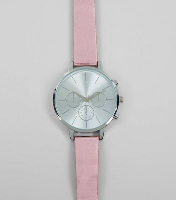 Pink Metallic Strap Watch