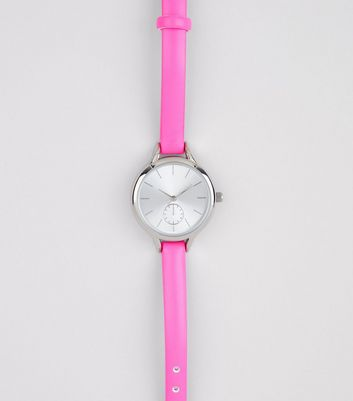 Bright Pink Skinny Strap Watch
