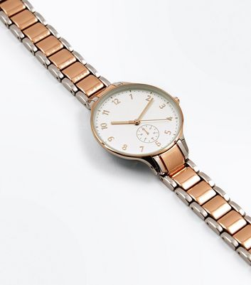 Rose Gold Two Tone Sports Watch