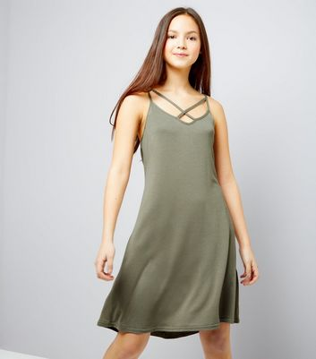 Teens Khaki Cross Front Jersey Slip Dress
