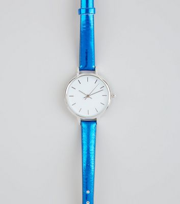 Bright Blue Metallic Skinny Strap Watch