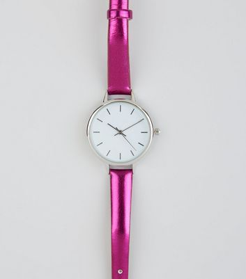 Bright Pink Metallic Skinny Strap Watch