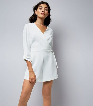 White Wrap Front D Ring Belt Playsuit