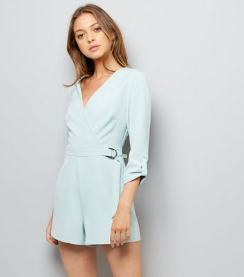 Mint Green Wrap Front D Ring Waist Playsuit