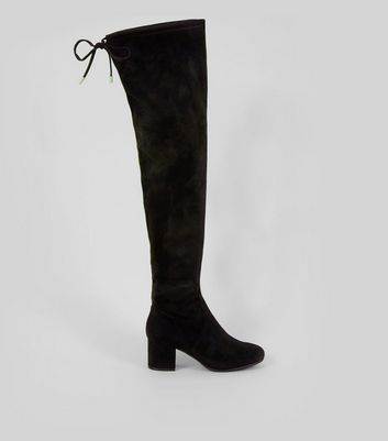 Wide Fit Black Suedette Over The Knee Block Heel Boots