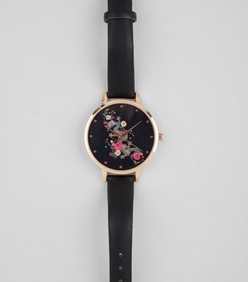 Black Floral Dragon Print Face Watch