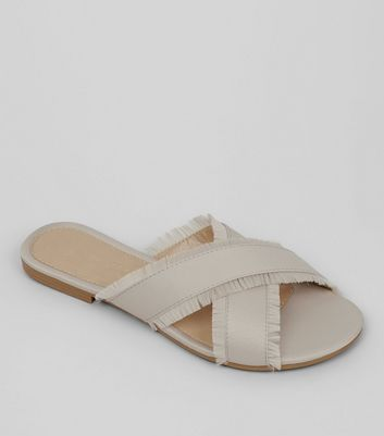 Wide Fit Stone Cross Over Fringe Mules