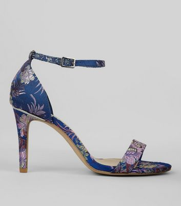 Wide Fit Blue Brocade Heeled Sandals