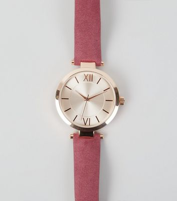Plum Suedette T-Bar Strap Watch