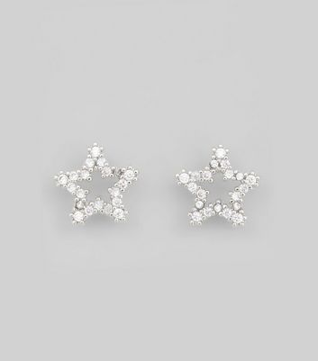 Silver Diamante Star Earrings