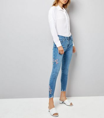 Blue Floral and Bird Embroidered Skinny Jenna Jeans