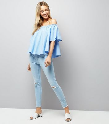 Light Blue Ripped High Waisted Skinny Jeans