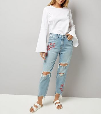 Pale Blue Floral Embroidered Ripped Tori Mom Jeans