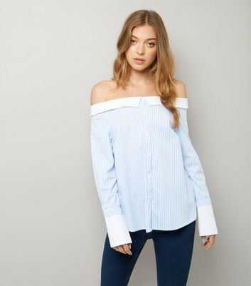Blue Stripe Bardot Neck Shirt