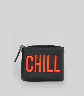 Black Chill Embroidered Zip Top Purse