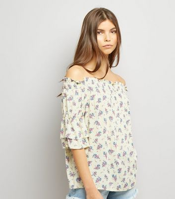 Yellow Floral Print Bardot Neck Top