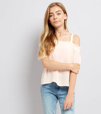 Teens Pink Shirred Sleeve Cold Shoulder Top