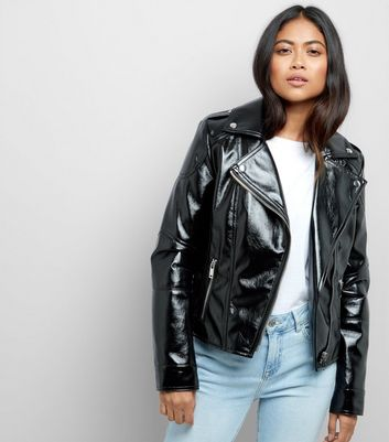 Petite Black High Shine Leather-Look Biker Jacket