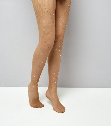 Nude Diamante Fishnet Tights