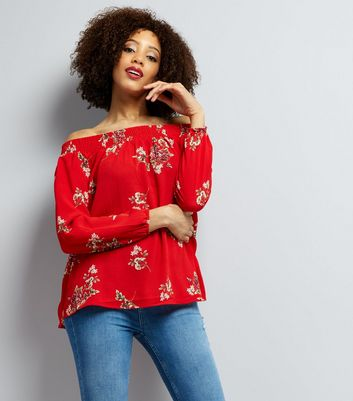 AX Paris Red Floral Bardot Top