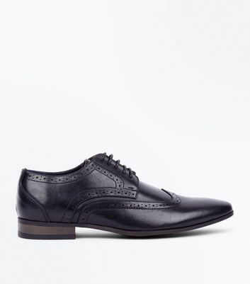 Black Perforated Lace Up Brogues