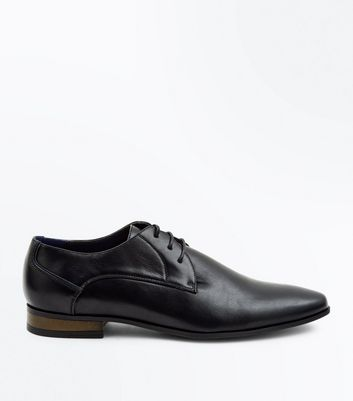 Black Lace Up Pointed Derby Shoes