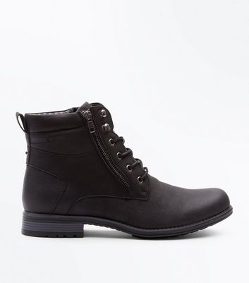 Black Double Zip Military Boots