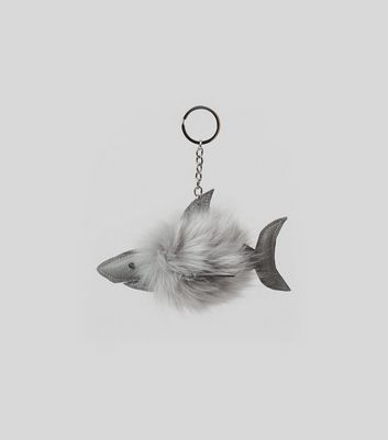 Grey Shark Faux Fur Pom Pom Keyring