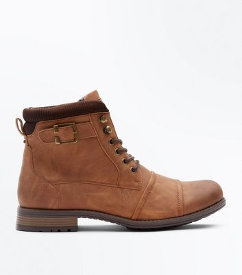Tan Military Buckle Strap Boots