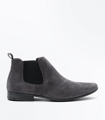 Grey Suedette Pointed Toe Chelsea Boots