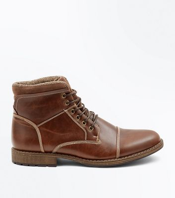Brown Seam Detail Lace Up Boots