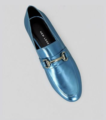 Blue Metallic Snaffle Trim Loafers