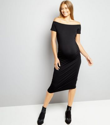 Maternity Black Bodycon Midi Dress