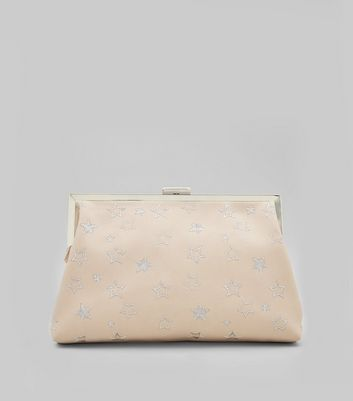 Shell Pink Star Embroidered Clutch