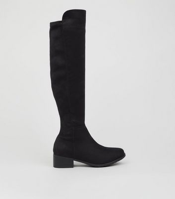 Teens Black Suedette Knee High Boots