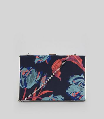 Blue Floral Box Clutch