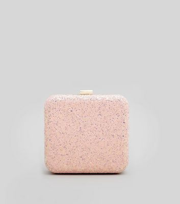 Shell Pink Glitter Box Clutch