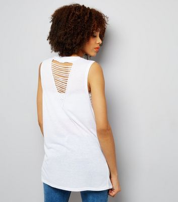 White Ladder Back Longline Vest