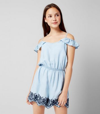 Teens Pale Blue Embroidered Denim Playsuit