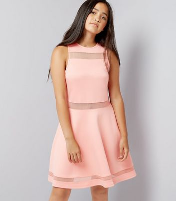 Teens Orange Mesh Insert Skater Dress