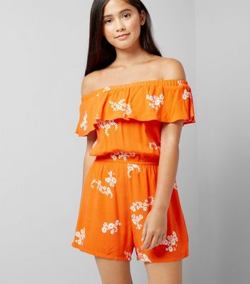 Teens Red Floral Print Bardot Neck Playsuit