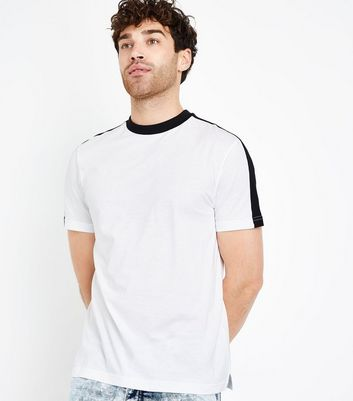 White Contrast Side Stripe T-Shirt