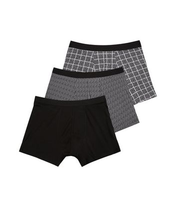 3 Pack Black Check Print Trunks