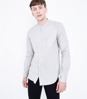 Stone Grandad Collar Long Sleeve Shirt